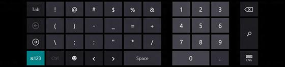 Экранная клавиатура Windows 8, знаки и числа